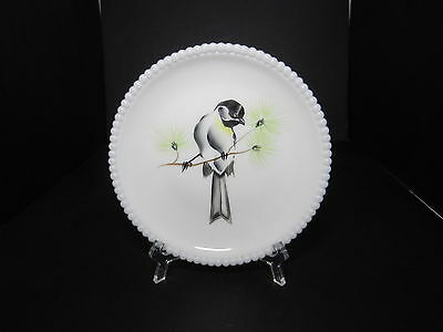 "Westmoreland Beaded Edge Plate Chickadee Bird 7 3/8"" D ca 1953-1985 TM"