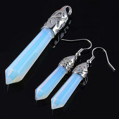 Lovely *Opalite & Silver* Faceted Pendant & Earring Set / 6Cms Drop & 3Cms Drop