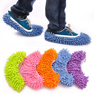 1pair Multi-Function Chenille Fibre Washable Dust Mop Slippers Cleaning Shoes SL