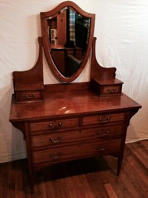 Antique Edwardian Chest of Drawers with Dressing Table Style Mirror Top
