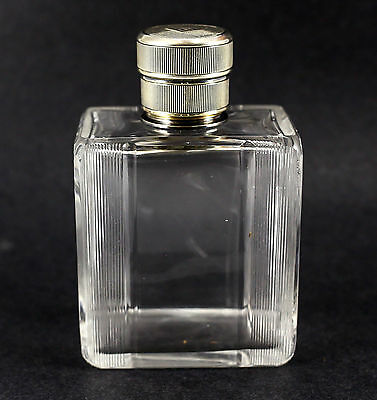 French .950 Silver & Crystal Perfume Bottle, Art Deco Hand Cut & Polished
