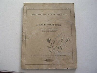 79th Congress 1st Session 1945 Fishery Resources in U S signed by Joe McCarthy