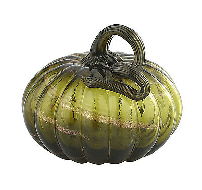"New 5"" Hand Blown Art Glass Pumpkin Sculpture Figurine Fall Harvest Dark Green"
