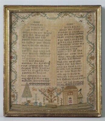 Antique Sampler, Small 1792 Motif and verse Sampler by Mary Blake