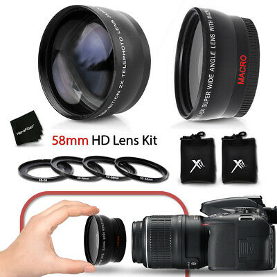 58mm Wide Angle + 2x Telephoto Lens f/ Canon EF-S 24mm f/2.8 STM Lens