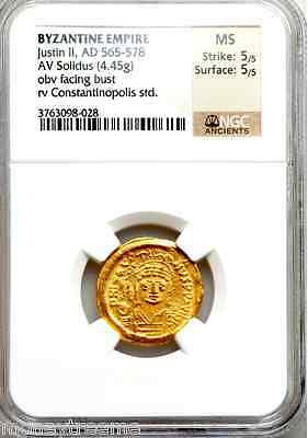"BYZANTINE EMPIRE CONSTANTINOPLE AD 565 ""JUSTIN II"" GOLD COIN NGC MS 5x5 SOLIDUS"