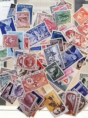 100 Australian Mixed Stamps Pre Decimal Mint Unhinged
