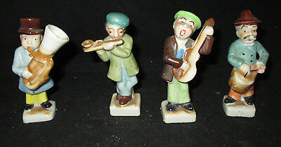 "Set of 4 Musician Figurines 3 1/2"" tall made in Japan Porcelain"