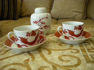 OOH~! FITZ & FLOYD LOT of 2 Temple Dragon Tea Coffee Cup Saucer Red White Asian