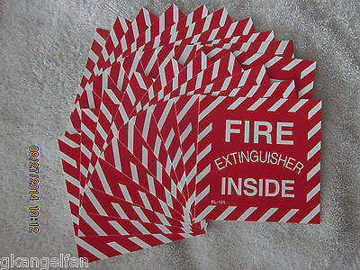 """(Lot Of 20) """"fire Extinguisher Inside"""" Self-Adhesive Vinyl Sign's...4"""" X 4"""" New"""