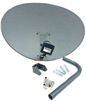 80cm zone 2 satellite dish & quad lnb + 5m RG6 White kit For Freesat / Sky + HD