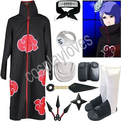 Naruto Akatsuki cloak Konan Cosplay Costume set anime