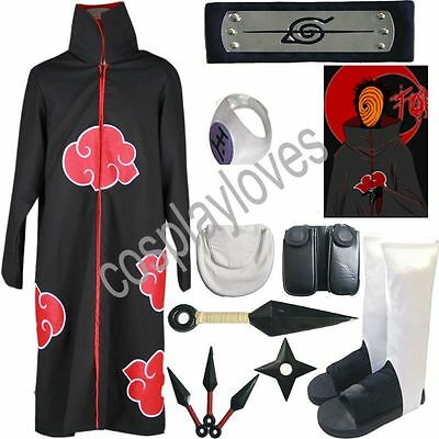 Naruto Akatsuki cloak Tobi Cosplay Costume set Anime