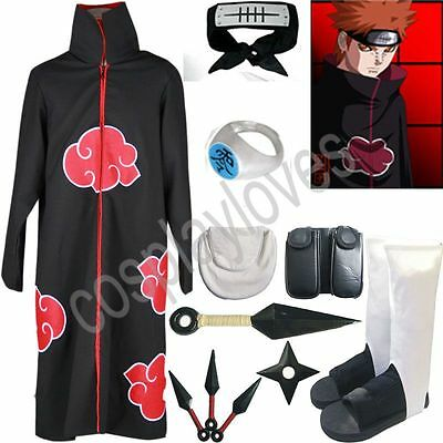 Anime Naruto Akatsuki cloak Pain Cosplay Costume Set Anime