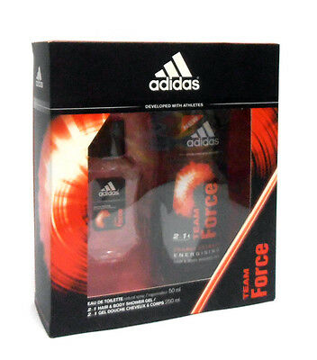 Set uomo ADIDAS TEAM FORCE profumo edt 50ml + hair & body shower gel 250ml NUOVO