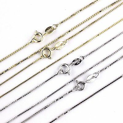 Womens Mens Kids 925 Sterling Silver Box Chain Necklace Italy White Yellow Gold