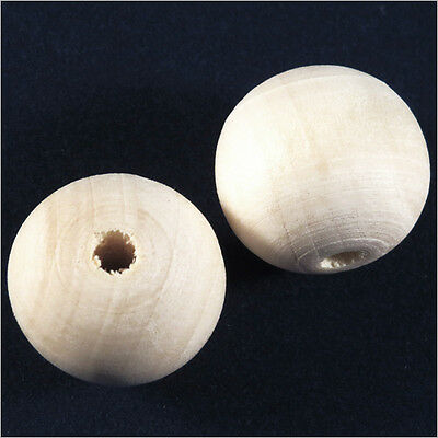Lot 20 perles Rondes en BOIS Brut 20mm