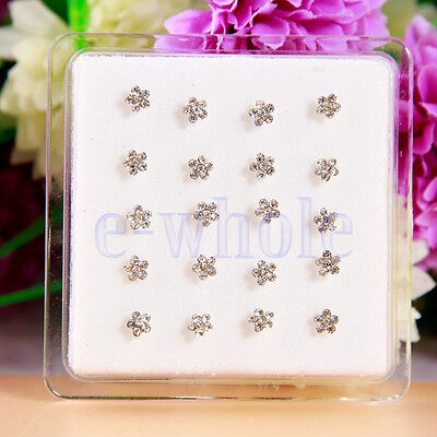 20 Nose Studs Clear Crystal Flower Nose Bars Studs Rings Box Included K6