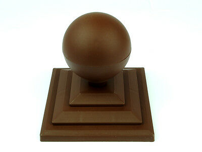 "Linic 2 x Brown Round Sphere Fence Top Finial + 3"" Fence Post Cap UK Made GT0026"