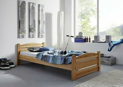 einzelbett kinderbett holzbett bett 90x200 cm kiefer massiv weiss lackiert eur 69 95 picclick de. Black Bedroom Furniture Sets. Home Design Ideas