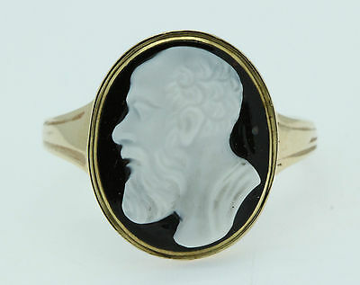 A Hardstone Cameo Ring Depicting A Greek God Circa 1800's