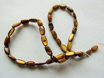MOP Mother of pearl shell brown 10mm freeform tube beads 15""