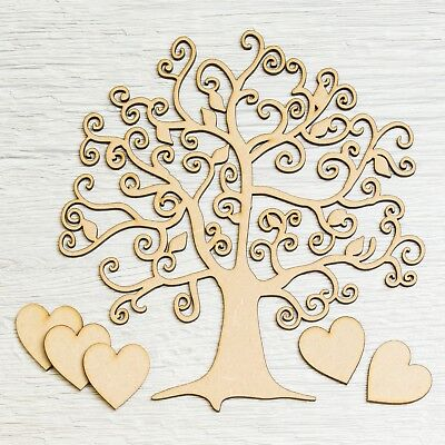 Wooden MDF Tree Shape Craft Blank, Scrapbook Christmas Family Tree Wedding Decor