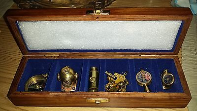 Vintage Nautical Maritime Brass Miniature 6 Pc Set in Collector Wood Gift Box
