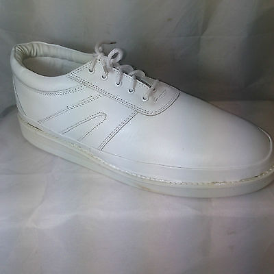 BOWLING SHOES white lace up soft LEATHER MOCCASIN bowls padded sock mens ladies