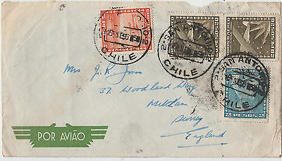 Stamps 1956 Chile on airmail cover postmarked San Antonio & sent to England