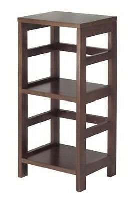 Wooden Espresso Colored Display Storage Unit Stand with Two Shelves Home Dorm