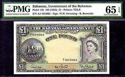 "BAHAMAS P15b ""QUEEN ELIZABETH II"" 1953ND 1 POUND PMG 65EPQ! GREAT MARGINS/ COLOR"