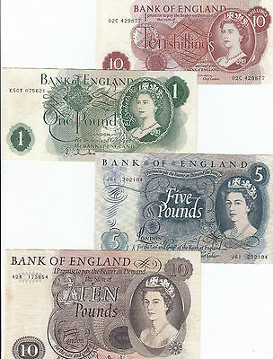 Banknotes Bank of England 10 shilling to 10 pound various signatures, nice group