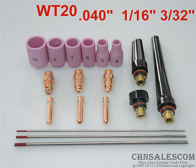 18 pcs TIG Welder Torch Short Collet Body Short Collet Kit WP-17 WP-18 WP-26