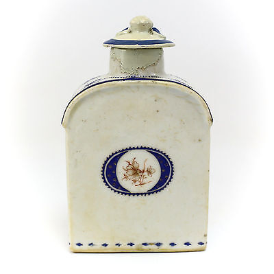 Chinese Export Porcelain Tea Caddy Floral Armorial c.1800 Hand Painted Gilt Blue