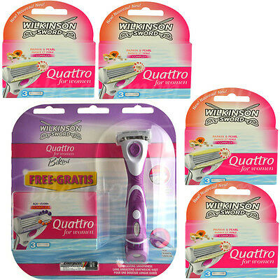 16 Wilkinson Quattro for women Rasierklingen Papaya Pearl + Bikini Razor