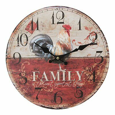 Hometime Windsor Rooster Family MDF Round Vintage Wall Clock Kitchen Decoration,