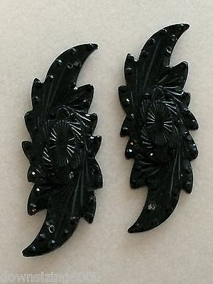 Sew On Jewels 50mm Black Lacquer Resin Cabochon Flatback Cats Eye Exquisite