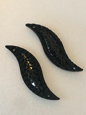 Sew On Jewels 50mm Black Lacquer Resin Snakeskin Fish Scale Flatback Cabochon