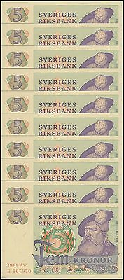Sweden 5 Kronor X 10 Pieces (PCS), 1981, P-51d, UNC