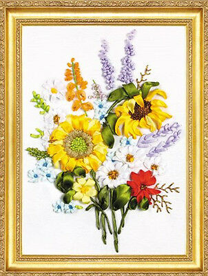 Romantic Grace Yellow Sunflower Best Wish 3D Ribbon Embroidery Kit 32*40CM Gift