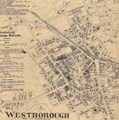 Westborough MA 1870 Map with Homeowners Names Shown