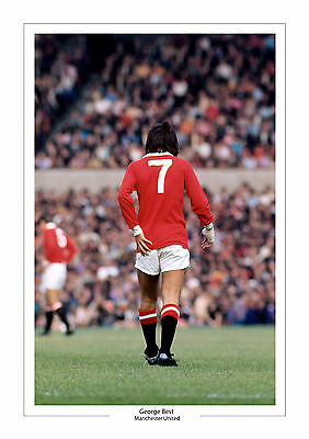 Iconic Image George Best Man Utd A4 Print Photo Manchester United Number 7 Shirt