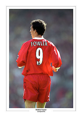 Robbie Fowler Liverpool A4 Print Photo Gift For Him Number 9 Shirt