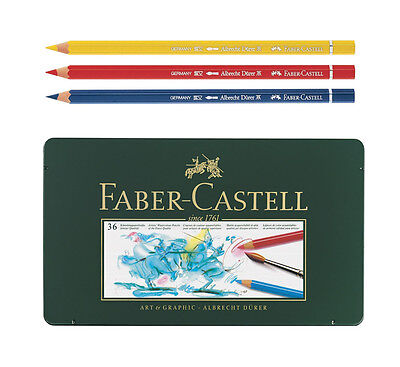 Faber Castell Albrecht Dürer Watercolor Color Colored Artists Pencils Tin of 36
