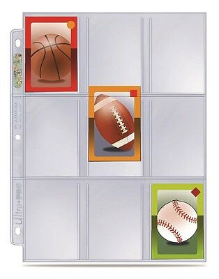 """(10) Ultra Pro 9 Pocket Mini Trading Card Album Pages 2 1/4"""" x 3 1/8"""" Size"""