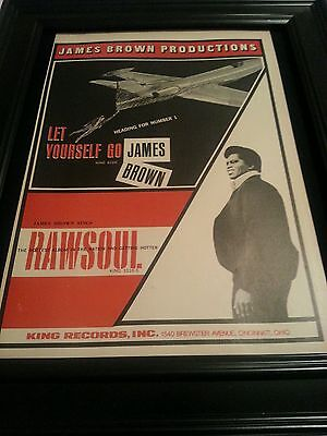 James Brown Let Yourself Go Rare Original Promo Poster Ad Framed!