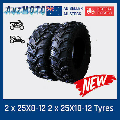 2* 25X8-12 +  2* 25X10-12 ATV UTV Tire Tyre for Yamaha YFM 350 400 Big Bear 4wd