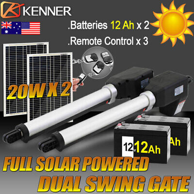 Full Solar Powered Automatic Motor Remote Swing Gate Opener Heavy Duty 1000KG