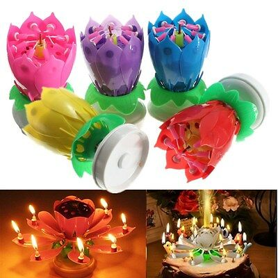Musical Lotus Flower Rotating Happy Birthday Party Candle Cake Light Lamp Decor